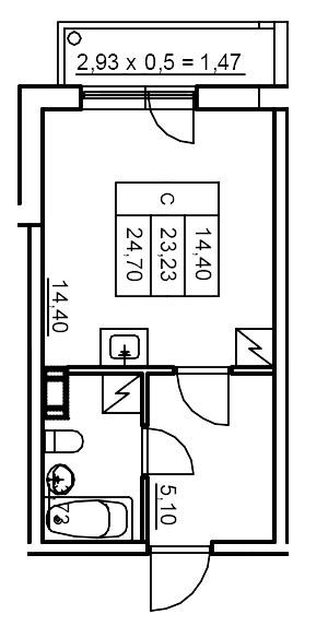 Планировка Студия площадью 24.74 кв.м в ЖК «Финские кварталы»
