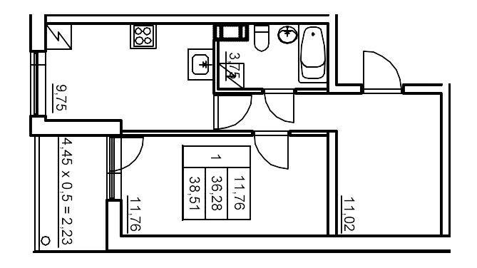 Планировка Однокомнатная квартира площадью 39.79 кв.м в ЖК «Финские кварталы»
