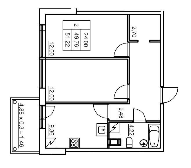 Планировка Двухкомнатная квартира площадью 50.63 кв.м в ЖК «Финские кварталы»