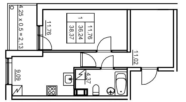 Планировка Однокомнатная квартира площадью 39.53 кв.м в ЖК «Финские кварталы»