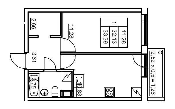 Планировка Однокомнатная квартира площадью 33.43 кв.м в ЖК «Финские кварталы»