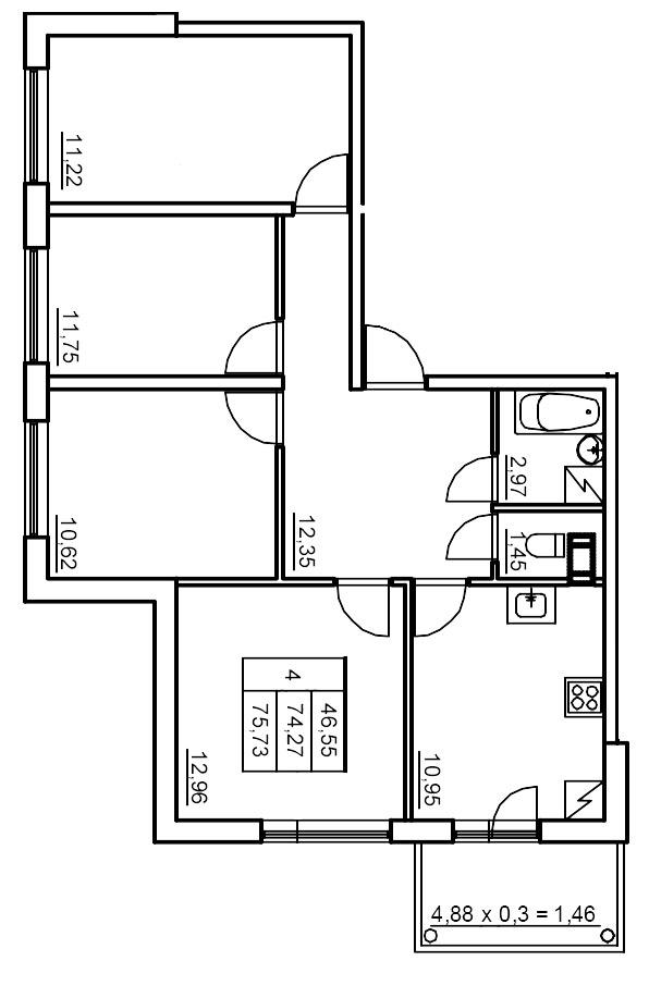 Планировка Четырёхкомнатная квартира площадью 73.5 кв.м в ЖК «Финские кварталы»