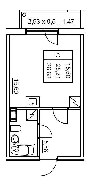Планировка Студия площадью 26.72 кв.м в ЖК «Финские кварталы»