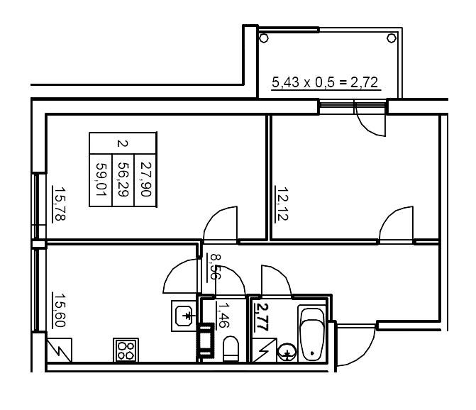 Планировка Двухкомнатная квартира площадью 55.27 кв.м в ЖК «Финские кварталы»