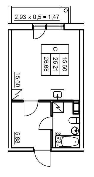 Планировка Студия площадью 26.65 кв.м в ЖК «Финские кварталы»