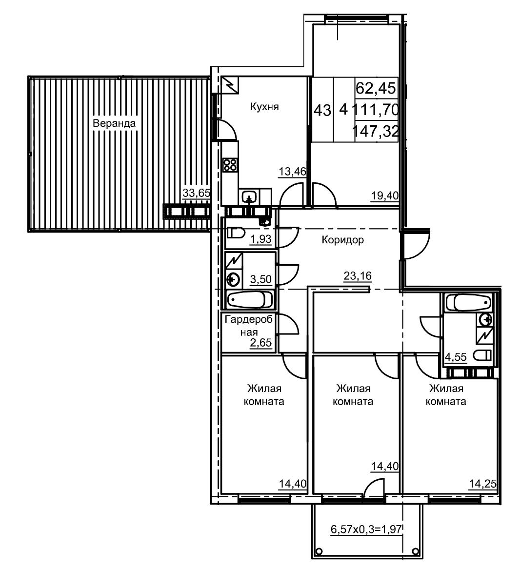 Планировка Четырёхкомнатная квартира площадью 121.8 кв.м в ЖК «Финские кварталы»