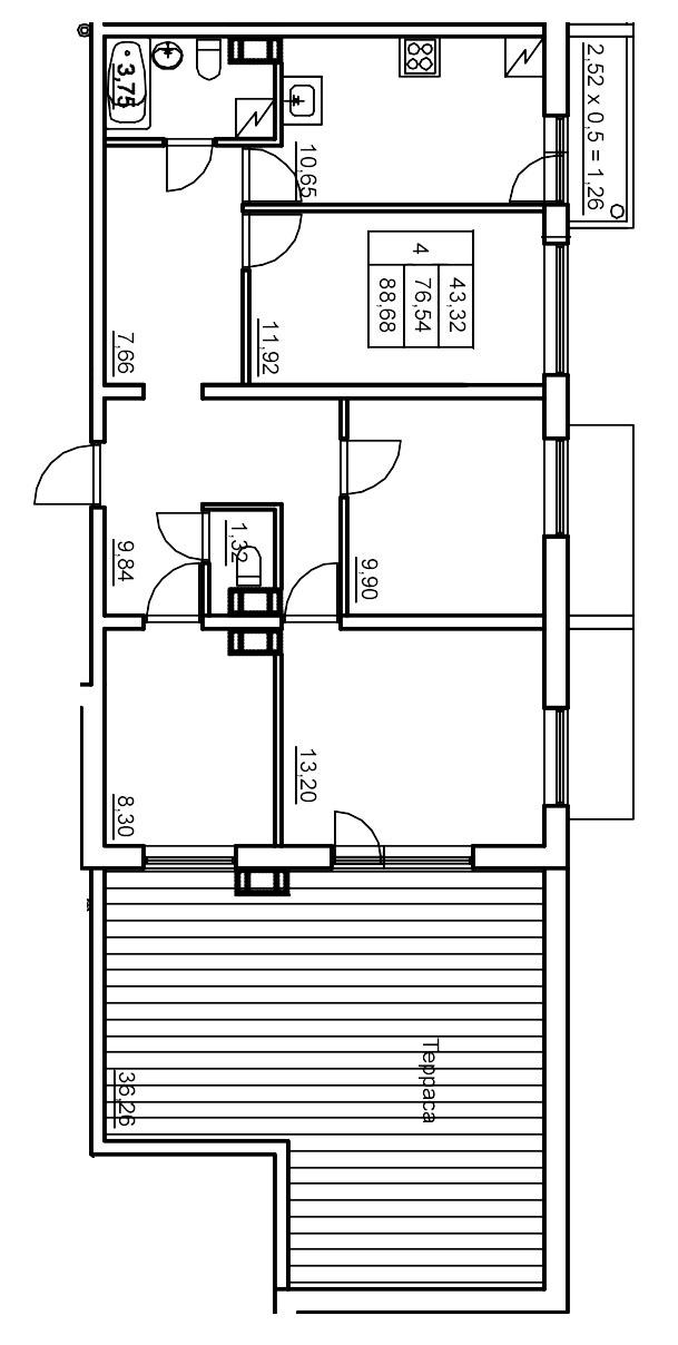 Планировка Четырёхкомнатная квартира площадью 87.56 кв.м в ЖК «Финские кварталы»