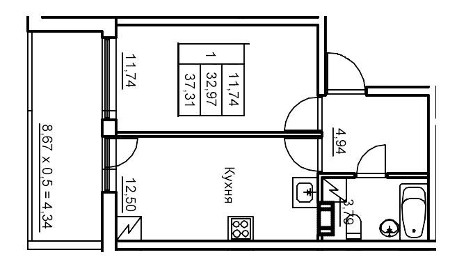 Планировка Однокомнатная квартира площадью 38.2 кв.м в ЖК «Финские кварталы»