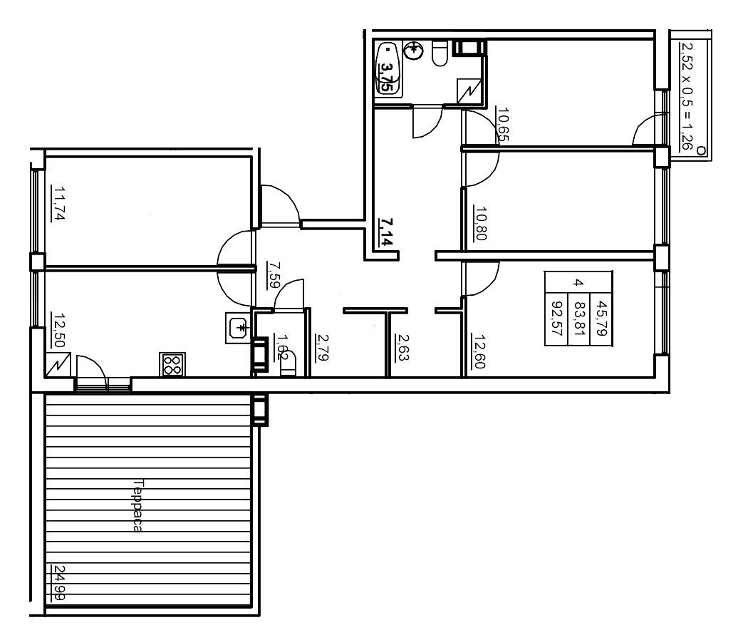 Планировка Четырёхкомнатная квартира площадью 93.15 кв.м в ЖК «Финские кварталы»